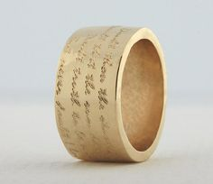 14k Gold Wide Band Engraved Ring Custom by OliveBungalowJewelry, $850.00