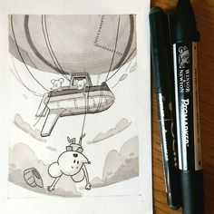 Exciting #airship #illustration by Jake Harvey (@jakeharvey77) which depicts the harrowing tale of three mice on a dirigible adventure... when suddenly one of the mice loses his trips over a coil of rope and falls from the gondola! The wind rushes over his ears and he plummets towards the ground and he is SURE that he's a goner... but thankfully his leg got wrapped up in the ropes and his shipmate was able to start pulling him to safety! For their sake I sure hope the rest of their journey…