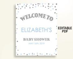 Welcome Sign Baby Shower Welcome Sign Blue And Silver Baby Shower Welcome Sign Blue Silver Baby Shower Blue And Silver Welcome Sign OV5UG - Digital Product #babyshowergifts #babyshowerideas