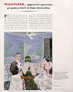1929 Wallpaper Manufacturer's Association Ad - Modern Wallpaper Design - 1920s Imperial Roofing Tiles Ad - Watercolor Illustration Art
