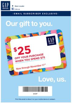 Gap Outlet cash back promo for Holiday 2013