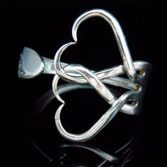 Fork Bracelet in Intertwining Hearts Design Number by MarchelloArt
