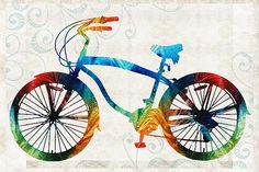 Colorful Bike Art - Free Spirit - By Sharon Cummings by Sharon Cummings - Colorful Bike Art - Free Spirit - By Sharon Cummings Painting - Colorful Bike Art - Free Spirit - By Sharon Cummings Fine Art Prints and Posters for Sale Bicycle Painting, Bicycle Art, Large Artwork, Original Artwork, Canvas Art, Canvas Prints, Buy Art Online, Abstract Wall Art, Art Auction
