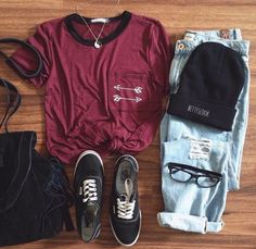 Maroon tee with light wash jeans and a beanie | From Insta: americanstyle