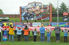 Giant American Flag Group during the National Anthem