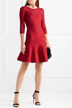 Hervé Léger - Kalyn Stretch-knit And Bandage Dress - Red