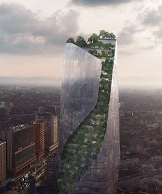 daniel libeskind reveals two competition-winning projects planned for france Green Architecture, Chinese Architecture, Futuristic Architecture, Amazing Architecture, Landscape Architecture, Classical Architecture, Landscape Design, Daniel Libeskind, Tower Building