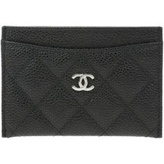 Pre-owned Chanel Black Caviar Leather Quilted Card Holder ($495) ❤ liked on Polyvore featuring bags, wallets, quilted bags, leather wallets, 100 leather wallet, quilted leather bag and genuine leather wallet
