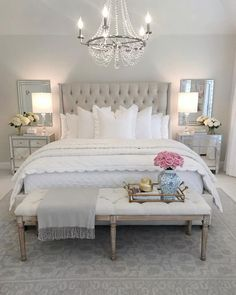 Decor bedroom inspo, classy bedroom decor, master bedroom design, home deco Glam Bedroom, Home Decor Bedroom, Modern Bedroom, Bedroom Bed, French Bedroom Decor, Bedroom Romantic, Bedroom Furniture, Bedroom Benches, French Inspired Bedroom