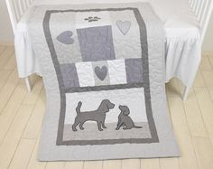Baby Boy Blanket Labrador Quilt Dog Nursery Blanket Chevron