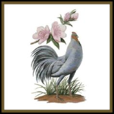 Delaware State Bird and Flower Counted Cross Stitch Pattern - Blue Hen Chicken and Peach Blossom