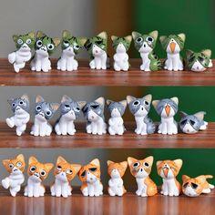 8pcs Kawaii Cheese Cat Miniature Figurine Fairy Miniatures Figurines japanese anime children figure world Action Toy Figures-Action & Toy Figures-Enso Store-Green-Enso Store