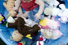 A cuddly sensory bin for babies.