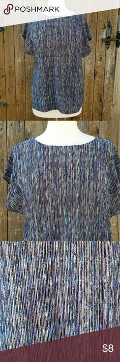 Tanjay Blue Multi Color Career Top Size Large  Accordion Fabric  Cap Sleeve Scoop Neck 100% Polyester  Measurements Bust is 40 inches Length of top is 25 inches Tanjay Tops