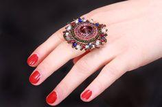 Beadwork ring Cocktail violet ring Ring of от handembroideryOlga Stylish Rings, Ring Ring, Cocktail Rings, Beadwork, Panda, Cocktails, Gemstone Rings, Gemstones, Beads
