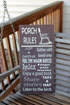 Porch Rules Wood Subway Sign, Garden Sign