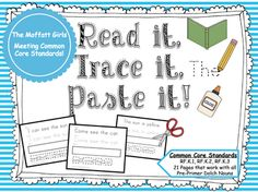 Free Sight Word Printables READ, TRACE, PASTE (pre-primer)