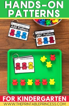 Practice patterns with these fun printable cards! Laminate them and keep them in your word work centers or literacy rotations! Students will love practicing patterns with bears and other manipulatives in the classroom! Great for kindergarten or pre-k!