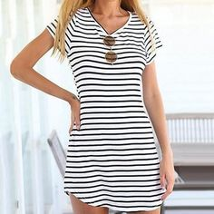 9d4a066a4cee2a Tenworld Women Crew Neck Short Sleeve Striped Loose T-Shirt Mini Dress(S -  XXXL) (XL  US brNOTE  Please compare the detail sizes with yours before you  buy!