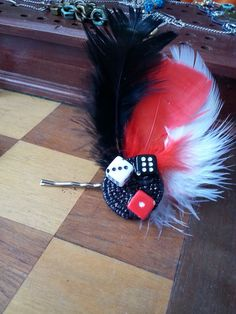 Lucky Gambling Hairpin with Feathers and Dice by HarrumphJewelry