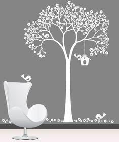 Nursery wall decal - White Cherry Tree, Birdhouse with Birds - Wall Decal. $129.00, via Etsy.