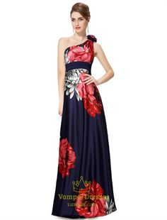 Navy Blue Floral Print Dress,Navy Blue One Shoulder Floral Print Dress