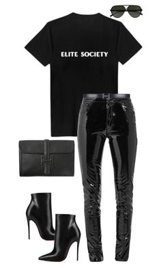 """""""Untitled #1052"""" by dianadolce ❤ liked on Polyvore featuring Anthony Vaccarello, Hermès, Christian Louboutin and CÉLINE"""