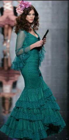Flamenco Dress: Teal, lace, polka dots.