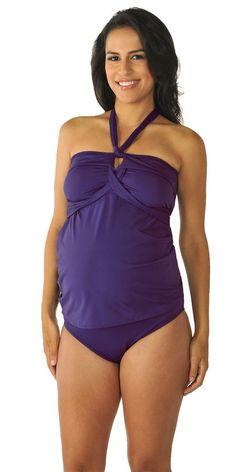 2c39c38054b39 PregO Maternity Women's Solid Wrap Tankini - X-Small. Maternity SwimTankini