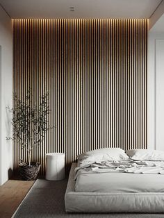Home Interior Wood Unique Feature Wall & Ceiling Ideas For a Rental Help Mallory Decide Which One To Choose - Emily Henderson.Home Interior Wood Unique Feature Wall & Ceiling Ideas For a Rental Help Mallory Decide Which One To Choose - Emily Henderson Home Bedroom, Modern Bedroom, Bedroom Wall, Bedroom Decor, Minimal Bedroom, Contemporary Bedroom, Wood Slat Wall, Wood Slats, Feature Wall Bedroom