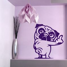 Pug You- Dog Wall Decal, Mops, Carlino Vinyl Sticker Decal - Good for Walls, Cars, Ipads, Mirrors Etc by PSIAKREW on Etsy
