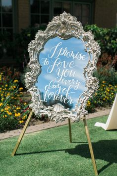 Framed Mirror Signs With Calligraphy | The Grovers | http://knot.ly/6492B0mSq | http://knot.ly/6495B0mSt