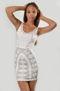 Sleeveless Fitted Studded Dress - Clothes | Maria Morena Wholesale
