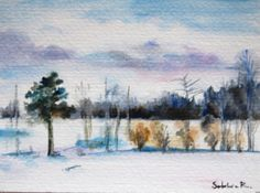 Winter Landscape Original Watercolor Painting by CanotStop on Etsy, $18.00