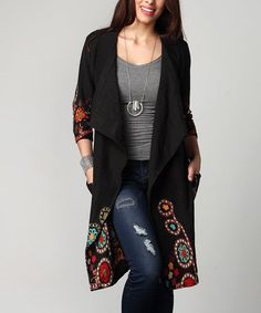 995a5c10ad Another great find on  zulily! Black Garden Pocket Cardigan - Plus   zulilyfinds Plus