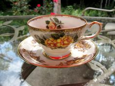 Yellow Roses decorate this China Teacup and by GrammieJennie, $25.00