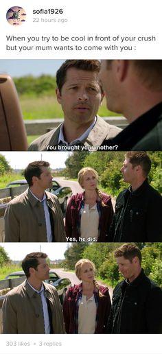 Castiel: You brought your mother? Dean And Castiel, Supernatural Destiel, Dean Winchester, Supernatural Fanfiction, Crowley, Misha Collins, Superwholock, Best Shows Ever, To Youtube