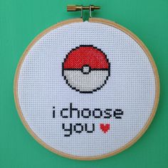 i choose you - pokemon valentines cross stitch