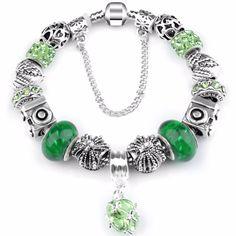 DIY Jewelry Ocean Style Water drop Charm Bracelet For Women Blue Murano Crystal Beads fit P Bracelets & Bangles
