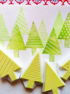 hand carved rubber stamps by talktothesun. set of 7 small silhouette house rubber stamps in different sizes. building stamp series for your winter holiday + christmas diy crafts. about - the tallest house stamp. Potato Print, Potato Stamp, Clay Stamps, Stamp Printing, Printing On Fabric, Stencil, Cumpleaños Diy, Homemade Stamps, Stamp Carving