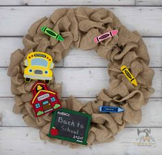 Great teacher gift! ITH Felties can be changed out quickly and easily Custom Embroidery, Machine Embroidery Designs, School Wreaths, Great Teacher Gifts, Burlap Wreath, Back To School, Classroom Door, Stitch, Crayons