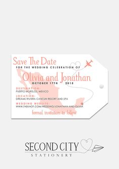Luggage Tag Save The Dates - Printed OR Printable File Destination Wedding Save The Dates