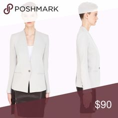 Helmut pale grey gala knit blazer Long sleeve blazer in pale grey. Stand collar. Single bottom closure and welt pockets at front. Padded shoulders. Vented at the back seam. Four bottoms surgeons cuffs. Fully lined. Tonal stitching. Like new ✨. Really good conditions Helmut Lang Jackets & Coats Blazers