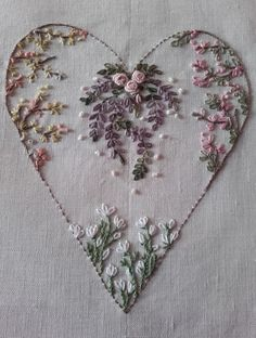 Marvelous Crewel Embroidery Long Short Soft Shading In Colors Ideas. Enchanting Crewel Embroidery Long Short Soft Shading In Colors Ideas. Embroidery Hearts, Hardanger Embroidery, Simple Embroidery, Learn Embroidery, Silk Ribbon Embroidery, Brazilian Embroidery Stitches, Hand Embroidery Stitches, Embroidery Kits, Embroidery Designs