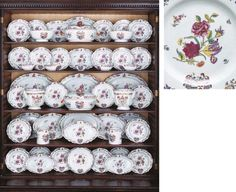 Doris Duke An extensive Chinese export porcelain armorial dinner service, c. 1755 Each piece enamelled in the center in famille rose colours with a spray of tulips and roses amidst smaller sprigs, the scalloped rims with lion crests at the top and a large coat-of-arms probably of Swythen impaling another family on the bottom, all bordered in rococo scrollwork Estimate: $80,000-120,000