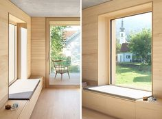 Interior Design Idea – Add a low cabinet along a wall to create a window seat and extra storage - This window has a deep sill and upholstered cushion that extends out to join up with the cabinetry - Interior Windows, Bedroom Windows, Window Seat Kitchen, Window Sill, Window Benches, Window Seats, Modern Windows, Modern Window Seat, Low Cabinet