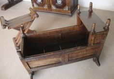 Oak hooded cradle, English, 1683, carved initials, alongside 16th and 17th century oak furniture. Photo by HomeThingsPast