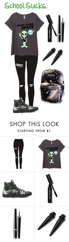 """""""Ugh, Why Does School Exist?!?!?!?!"""" by ilovecookiemonster101 ❤ liked on Polyvore featuring Topshop, Converse, Bobbi Brown Cosmetics, Chanel and practicemakesperfect"""