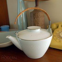 Noritake Reina White Teapot Wrapped Handle Vintage by alamodern, $35.00