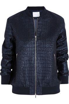 RICHARD NICOLL Croc-effect jacquard bomber jacket $1,000